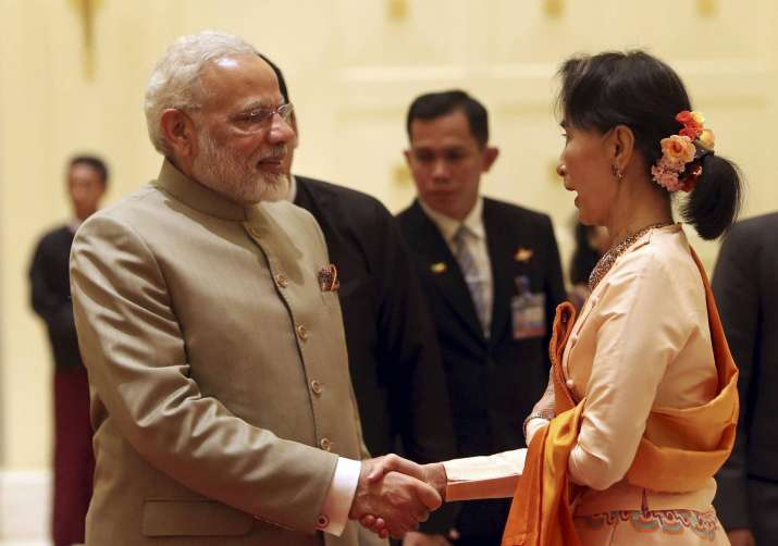 PM Narendra Modi with Myanmar's State Counsellor Aung San
