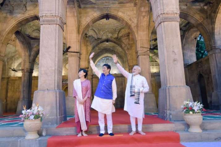 Shinzo Abe and PM Modi at Sidi Siyyed Ki Jaali