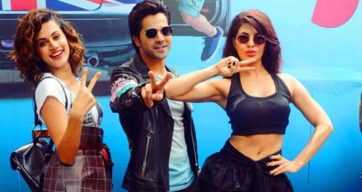India Tv - Varun Dhawan, Jacqueline Fernandez and Taapsee Pannu in Judwaa 2