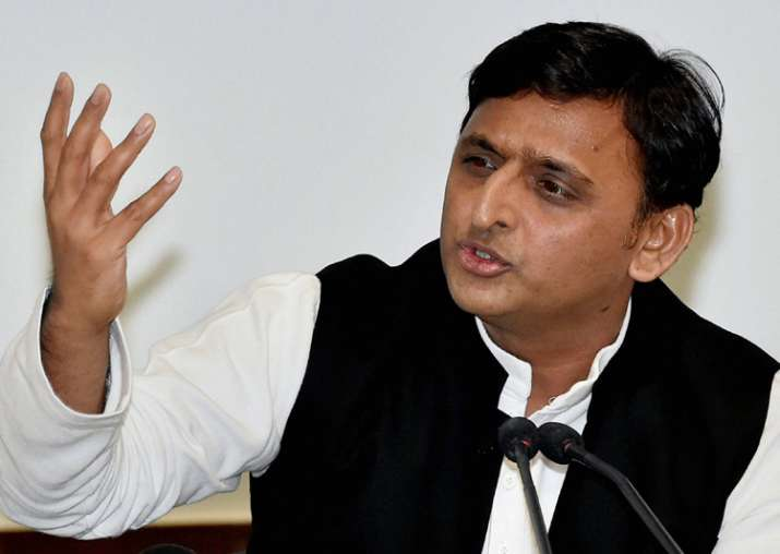 Akhilesh Yadav addressing media at SP HQs in Lucknow