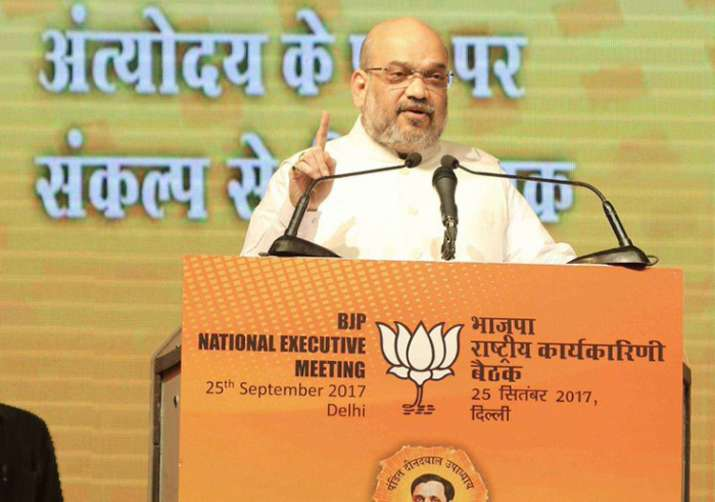 Amit Shah apeaking at BJP's ongoing National Executive