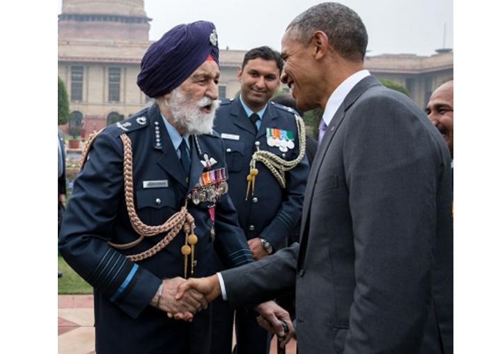 India Tv - File: Barack Obama greets Arjan Singh, Marshal of the IAF