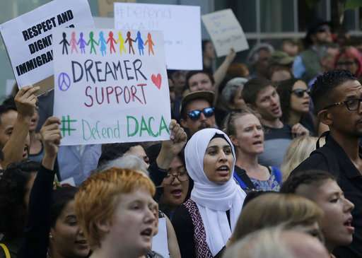 DACA supporters protest outside of the Federal Building in