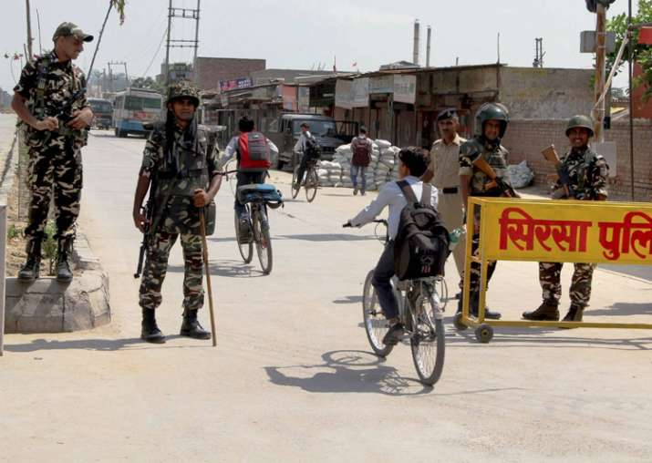 File pic - Security forces at Satnam Chowk, the main
