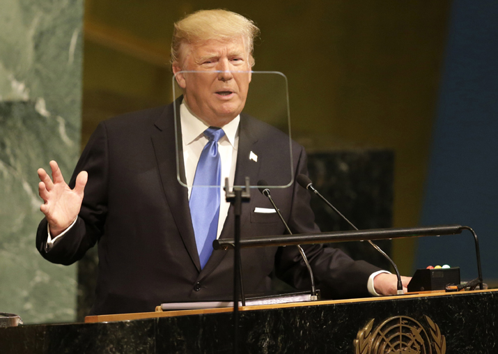 Donald Trump speaks during the United Nations General