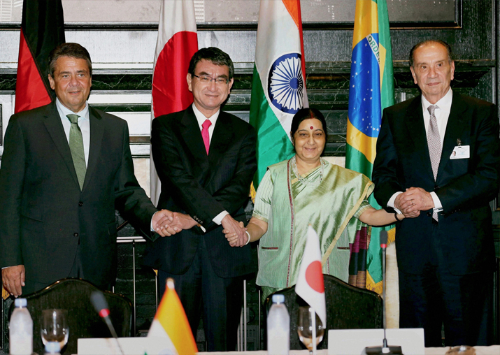 Foreign Ministers of G4 countries during a meeting in New