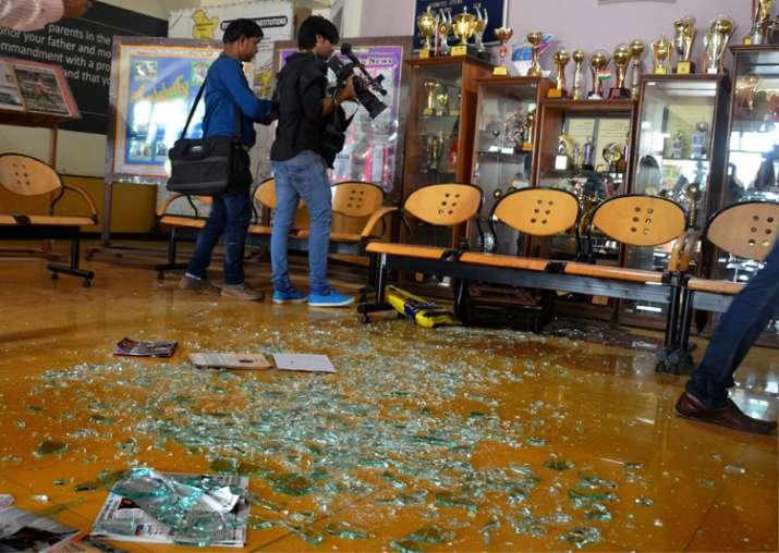 Gurugram: The scene of a vandalized area of the school