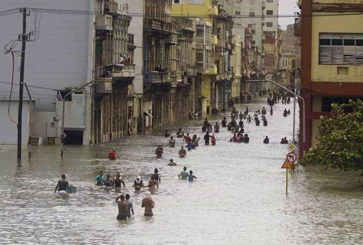 India Tv - A flooded street in Havana, Cuba during Hurricane Irma