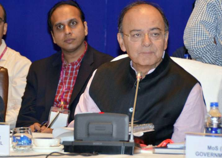 Arun Jaitley at the 21st GST Council meet in Hyderabad