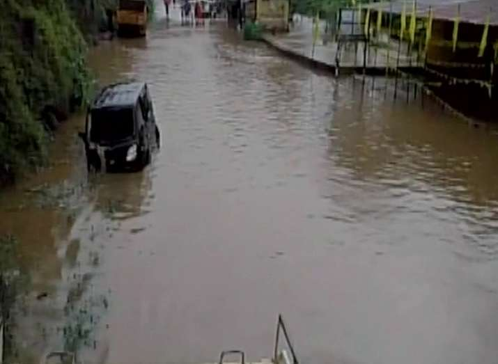 A flooded street in Idukki district of Kerala after