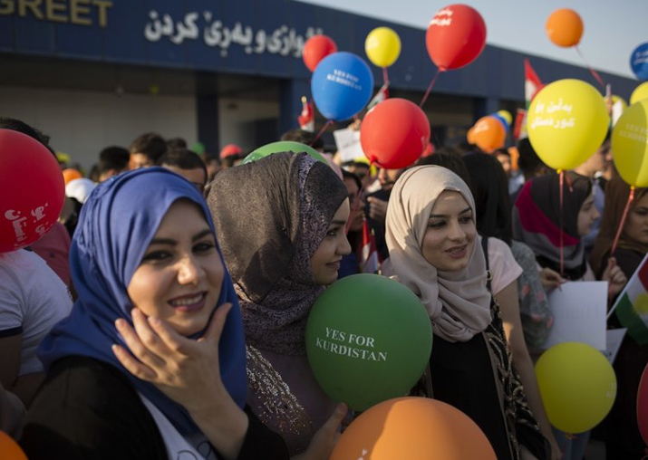 Kurdish women protest against Iraq govt's flight ban order
