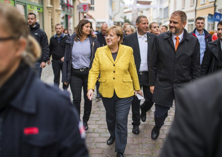 Angela Merkel takes a stroll through the old town of