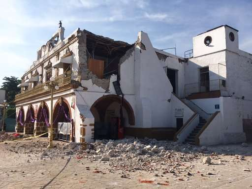 India Tv - The Jojutla Municipal Palace stands heavily damaged after the quake. Photo AP