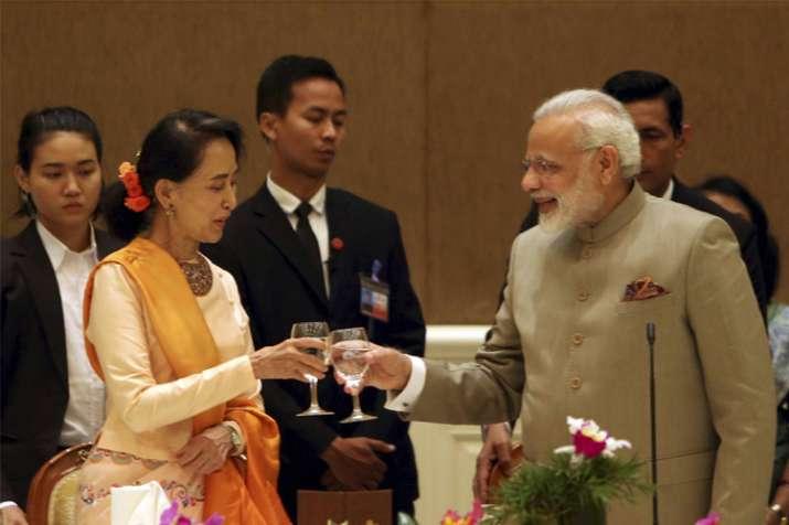 PM Narendra Modi meets Myanmar's State Counsellor Aung San
