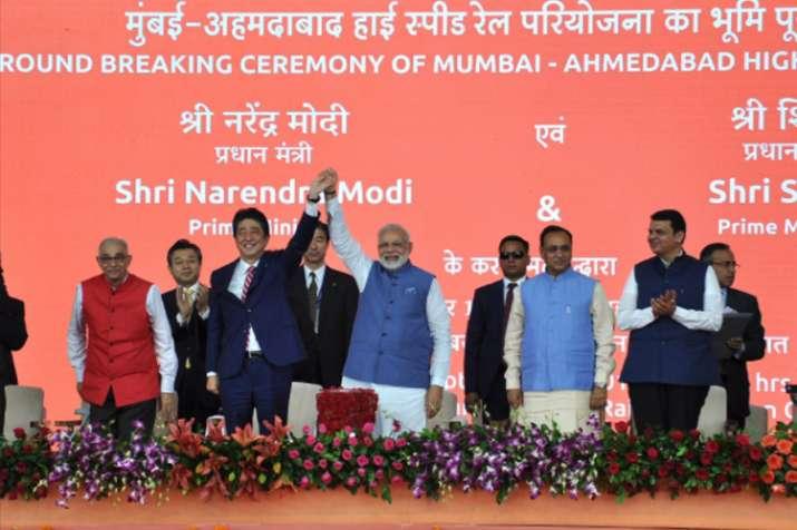 Pm Modi, Shinzo Abe lay foundation for bullet train project