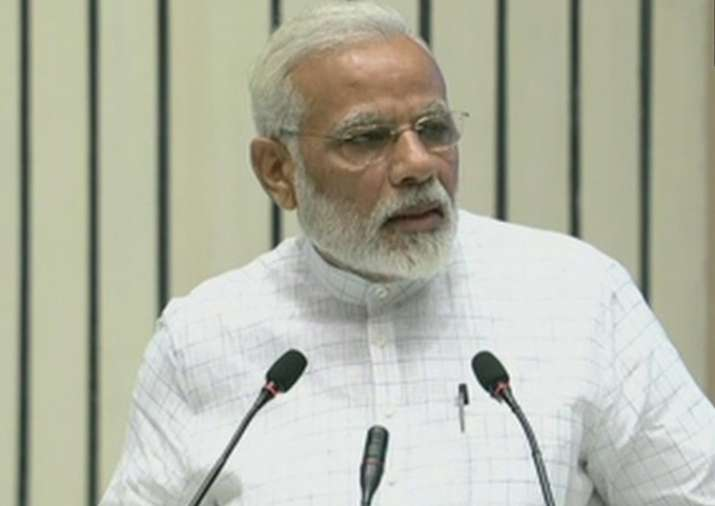 PM Narendra Modi is addressing a convention with theme
