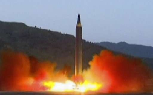 Image from broadcast that N Korea claimed as the launch of