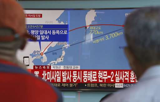 People watch a TV screen reporting North Korea's missile