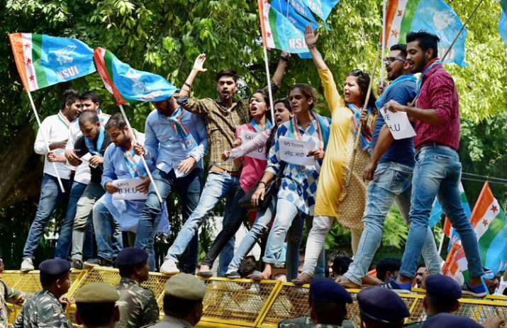 India Tv - NSUI members shout slogans during a protest