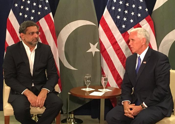 Pak PM Shahid Khaqan Abbasi and US Vice President Mike Pence