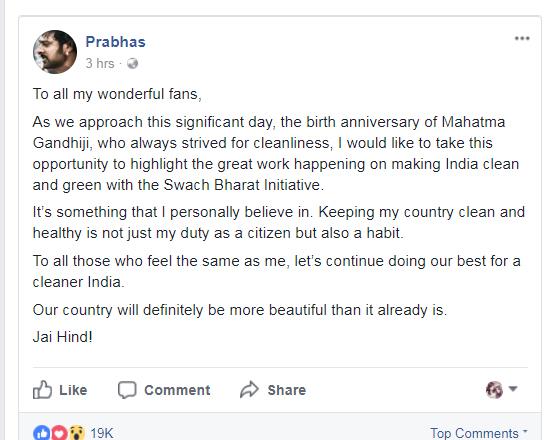India Tv - Facebook post of Prabhas