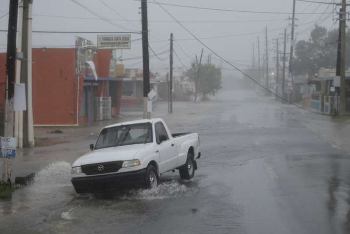 India Tv - A man drives through rain during passage of hurricane Irma in Puerto Rico, Wed