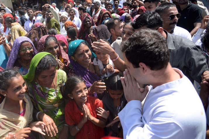 Rahul Gandhi greets locals during his three-day visit to
