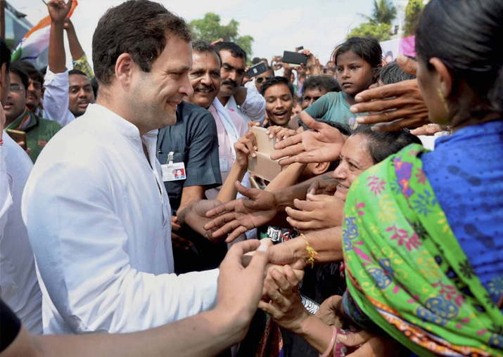 Rahul Gandhi meeting with supporters during his visit to