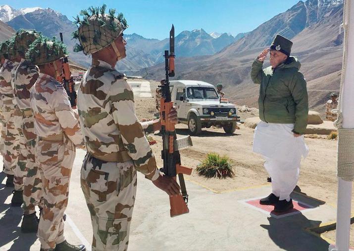 Rajnath Singh takES salute during his visit to ITBP Border
