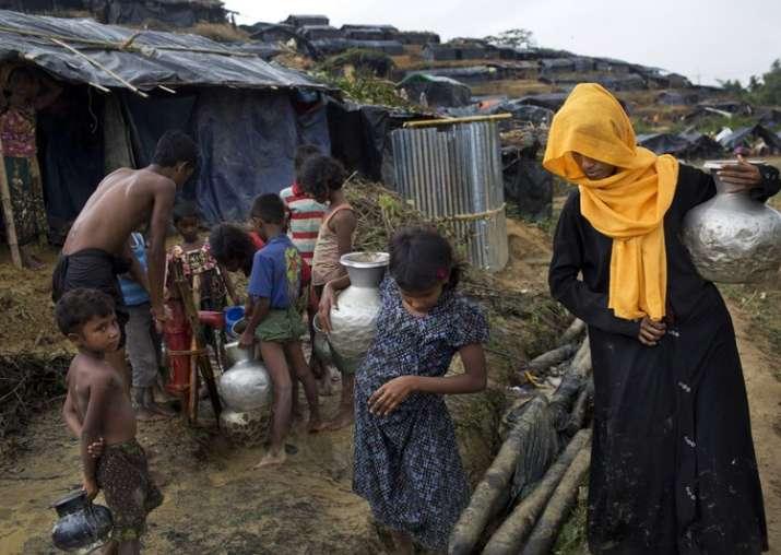 Rohingya Muslims at new refugee camp at Cox's Bazar Ukhia