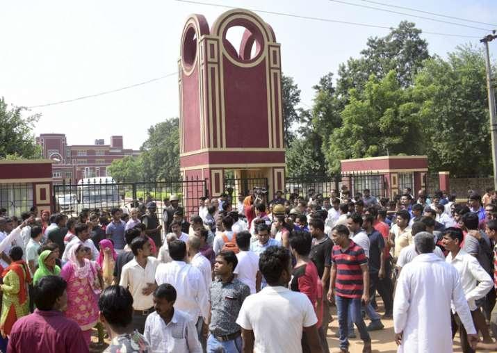 Gurugram: Demonstrators protest outside Ryan International