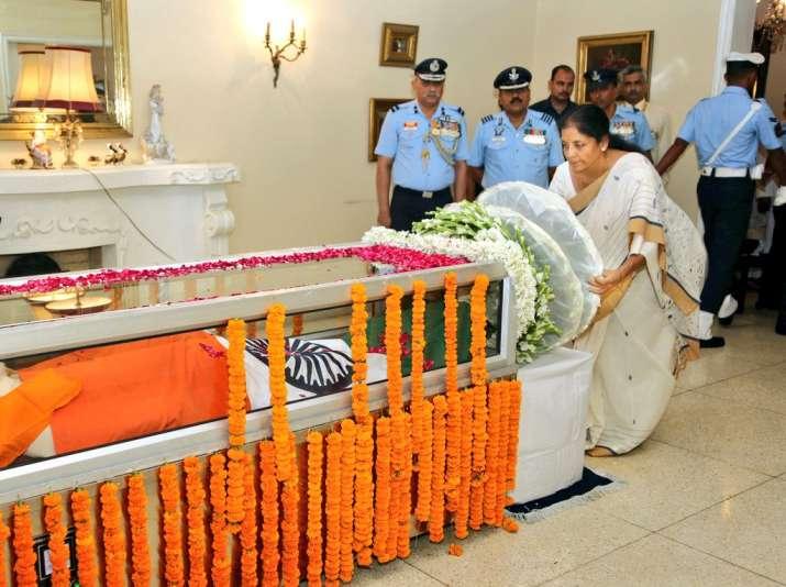 India Tv - Defence Minister Nirmala Sitharaman pay final tributes to Marshal Arjan Singh