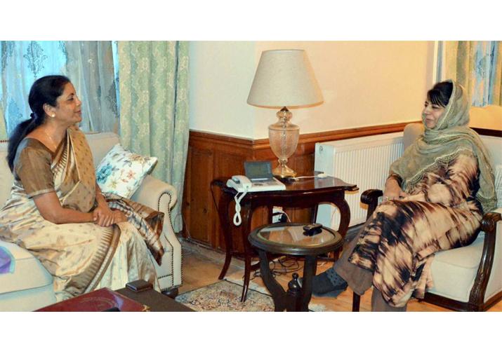Nirmala Sitharaman meeting Mehbooba Mufti in Srinagar