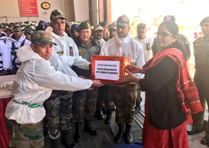 Nirmala Sitharaman interacts with troops at Siachen Base