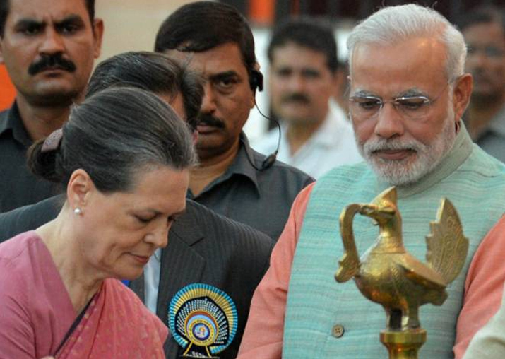 File pic - Sonia Gandhi and Narendra Modi