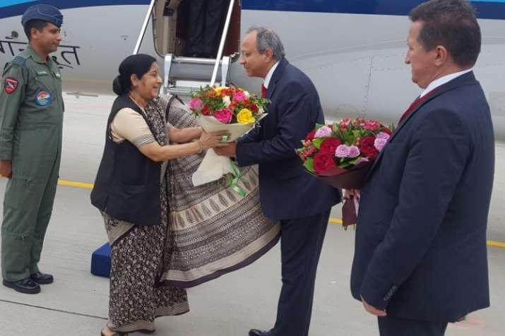 Sushma Swaraj arrives in Russia to attend eastern Economic