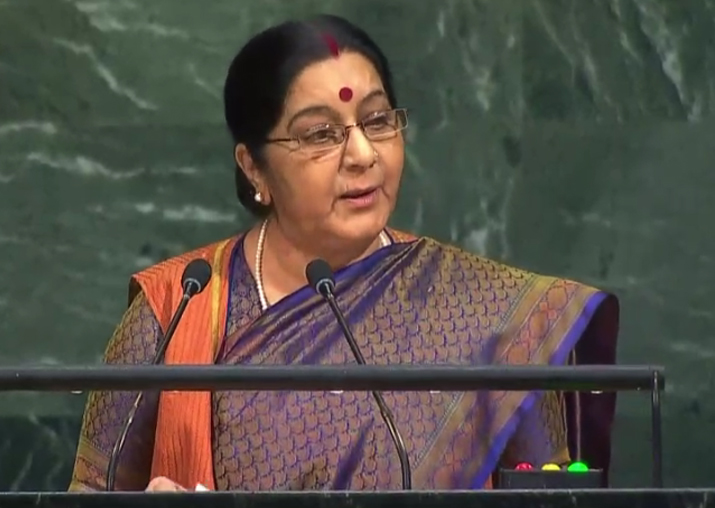 Sushma Swaraj addresses UN General Assembly
