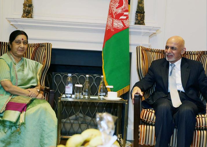 Sushma Swaraj meets Afghanistan President Ashraf Ghani
