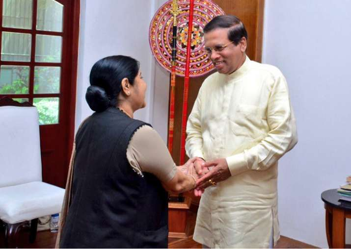 Sushma Swaraj calls upon Sri Lankan President Sirisena