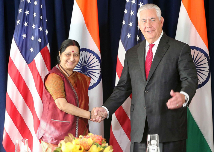 Sushma Swaraj raises H1-B issue with Rex Tillerson at UN