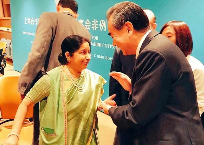 ASushma Swaraj, Chinese foreign minister Wang Yi exchange