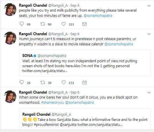India Tv - Rangoli slams Sona Mohapatra on Twitter