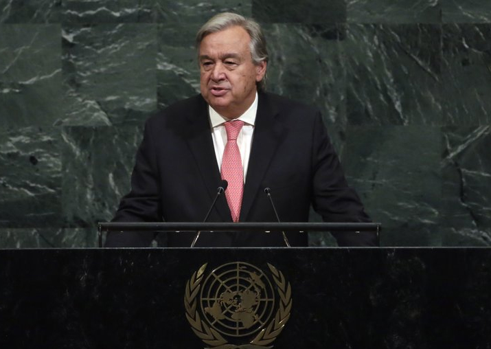 UN Secretary General Antonio Guterres addresses the UN