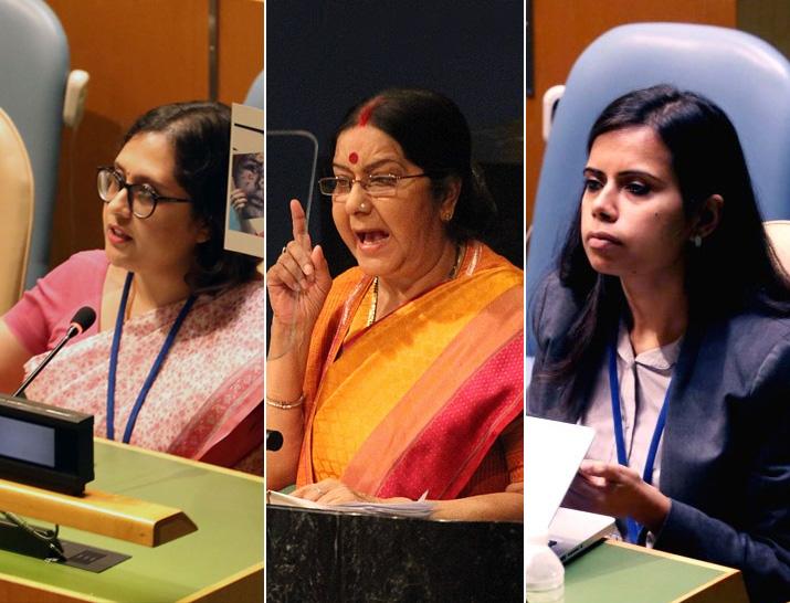 Paulomi Tripathi, Sushma Swaraj and Eenam Gambhir at the