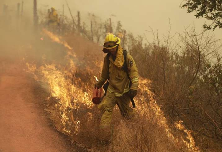 India Tv - A Sonoma city firefighter walks in front of flames during a backburn operation Friday