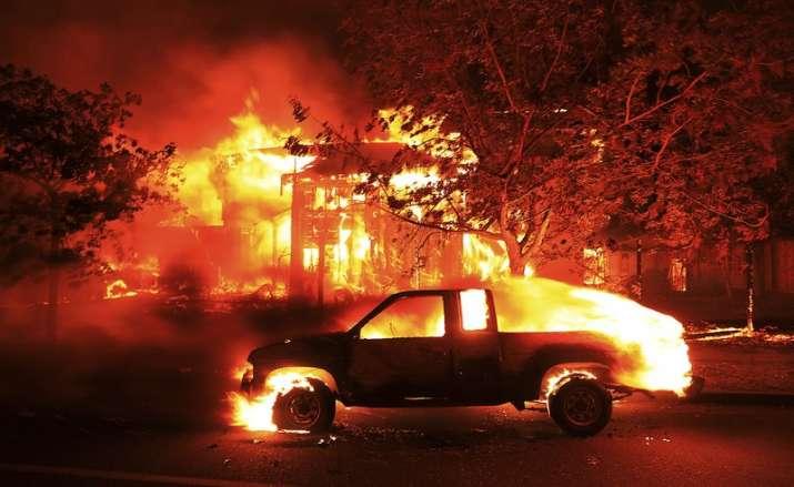 India Tv - Coffee Park homes burn in Santa Rosa on Monday