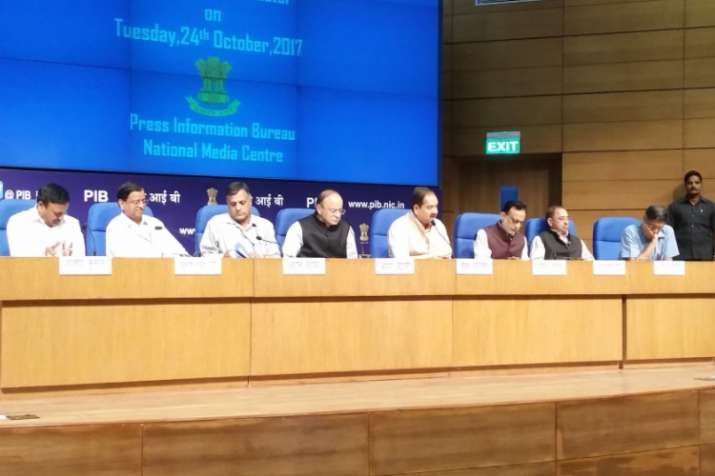 Finance Minister Arun Jaitley is addressing a press