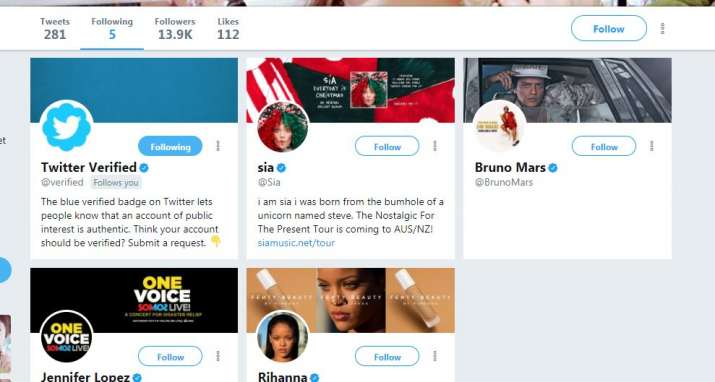 India Tv - 5 Twitter accounts Dhinchak Pooja is following