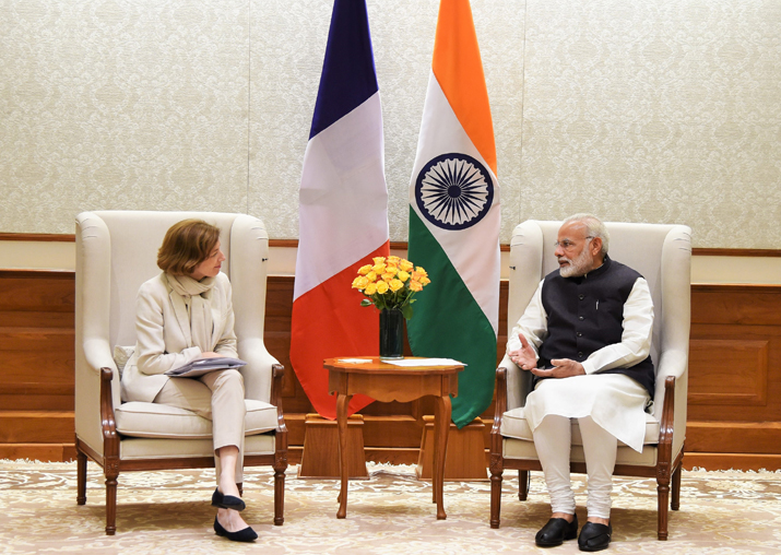 Florence Parly calls on PM Narendra Modi in New Delhi on