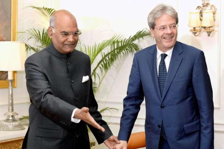 President Ram Nath Kovind and Italian Prime Minister Paolo